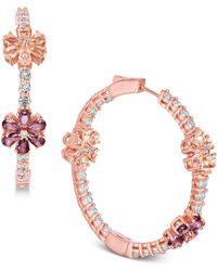 "Joan Boyce - Flower Crystal Pavé 1-1/2"" Hoop Earrings - Lyst"
