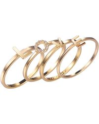 """Adornia - """"love"""" Stack Ring Set - Lyst"""