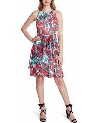 Tahari Floral Fit & Flare Dress - Red
