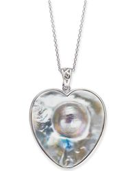 """Macy's - Mabé Blister Pearl (33 X 30mm) Heart 24"""" Pendant Necklace In Sterling Silver - Lyst"""