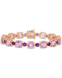 Macy's Citrine (29-3/8 Ct. T.w.) Tennis Bracelet In Sterling Silver (also Available In Blue Topaz) - Pink