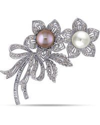 Macy's South Sea, Pink Cultured Freshwater Pearl And Brown And White Diamond (2 Ct .t.w.) Floral Bouquet Brooch In 18k White Gold
