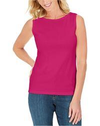 Karen Scott Cotton Scoop-neck Top, Created For Macy's - Pink