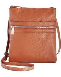 Giani Bernini Triple-zip Pebble Leather Dasher Crossbody, Created For Macy's - Brown