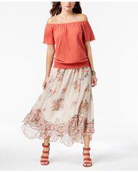 Style & Co. Floral-print Flutter-hem Skirt, Created For Macy's - Multicolor