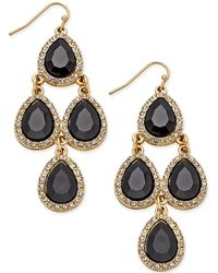 INC International Concepts - Gold-tone Jet Black Teardrop Chandelier Earrings - Lyst