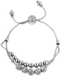 Guess - Silver-tone Pavé Beaded Double-row Slider Bracelet - Lyst