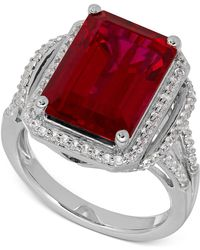 Macy's - Lab-created Ruby (10-1/5 Ct. T.w.) White Sapphire (3/8 Ct. T.w.) Ring In Sterling Silver - Lyst