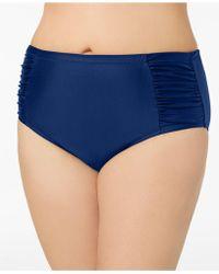 Jessica Simpson - Plus Size Shirred High-waist Bikini Briefs - Lyst