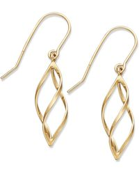 Macy's - 10k Gold Earrings, Spiral Drop Earrings - Lyst