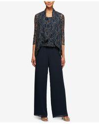 Alex Evenings 3-pc. Metallic Lace Pantsuit - Blue