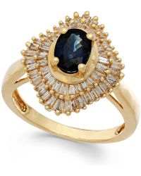 Macy's - Sapphire (9/10 Ct. T.w.) And Diamond (1/2 Ct. T.w.) Ring In 14k Gold - Lyst
