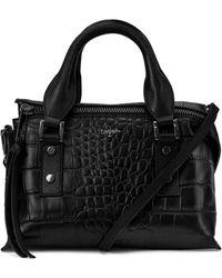 T Tahari Rachel Leather Top Handle Satchel - Black