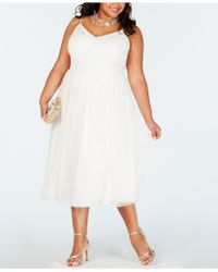 Adrianna Papell - Plus Size Beaded Tulle A-line Dress - Lyst