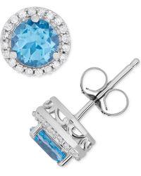 Macy's - Blue Topaz (1-1/4 Ct. T.w.) & Diamond (1/8 Ct. T.w.) Halo Stud Earrings In 14k White Gold - Lyst