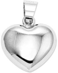 Macy's - 14k White Gold Charm, Puffed Heart Charm - Lyst
