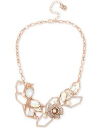 """Betsey Johnson - Rose Gold-tone Crystal & Imitation Pearl Openwork Statement Necklace, 16"""" + 3"""" Extender - Lyst"""