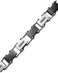 Macy's - Men's Stainless Steel Bracelet, Black Diamond Link (1/2 Ct. T.w.) - Lyst