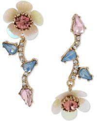 Betsey Johnson Gold-tone Crystal Flower Mismatch Drop Earrings - Multicolour