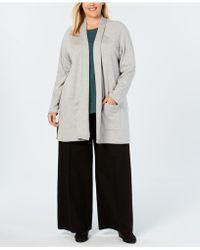 Eileen Fisher - Plus Size Organic Cotton Kimono Cardigan - Lyst
