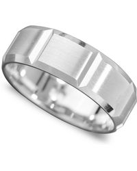 Macy's Men's 14k White Gold Ring, Vertical Cut Band (size 6-13) - Metallic