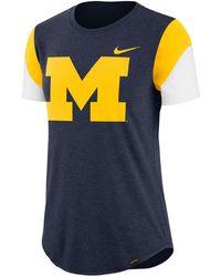newest 5e997 7c3b8 Nike - Michigan Wolverines Tri-blend Fan T-shirt - Lyst