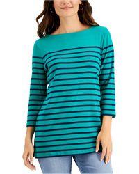 Karen Scott Striped Boat-neck Top, Created For Macy's - Blue