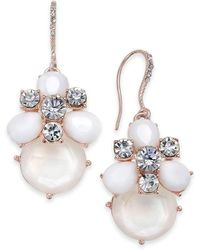 Charter Club - Rose Gold-tone Crystal & Stone Drop Earrings, Created For Macy's - Lyst