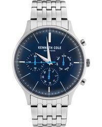 Kenneth Cole - Multifunction Silver Bracelet Watch 42mm - Lyst