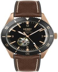 Henry London Sports Automatic Rose Gold Case Black Automatic Dial Brown Silicone Strap - Multicolor