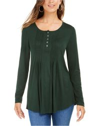 Style & Co. Petite Pintuck Top, Created For Macy's - Green