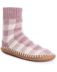 Muk Luks Chenille Short Slipper Socks - Purple