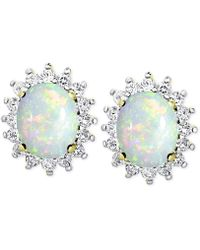 Macy's Opal (1-3/8 Ct. T.w.) And White Topaz (9/10 Ct. T.w.) Stud Earrings In 18k Gold-plated Sterling Silver - Metallic