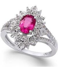 Macy's - Ruby (1 Ct. T.w.) And Diamond (1/5 Ct. T.w.) Split Shank Ring In 14k White Gold - Lyst