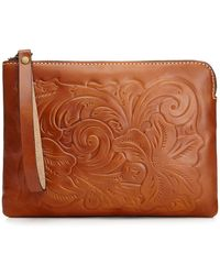Patricia Nash Cassini Tooled Leather Wristlet - Brown