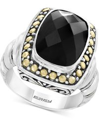 Effy Collection Onyx (14 X 10mm) Ring In Sterling Silver & 18k Gold - Metallic