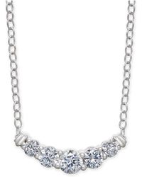 """Macy's - Diamond Curved Bar 18"""" Statement Necklace (1/2 Ct. T.w.) In 14k White Gold - Lyst"""