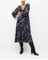 Mango Ruched Detail Flower Dress - Blue
