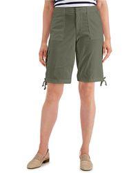 Karen Scott Tie-hem Twill Shorts, Created For Macy's - Green