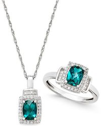 Macy's - Lab-created Emerald (1-3/8 Ct. T.w.) And White Sapphire (5/8 Ct. T.w.) Pendant Necklace And Matching Ring Set In Sterling Silver - Lyst