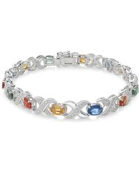 Macy's - Multi-sapphire (8 Ct. T.w.) And Diamond Accent Link Bracelet In Sterling Silver - Lyst