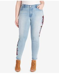 Jessica Simpson - Trendy Plus Size Ripped Skinny Jeans - Lyst