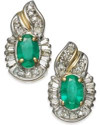Macy's - Emerald (1 Ct. T.w.) & Diamond (1/4 Ct. T.w.) Stud Earrings In 14k Gold - Lyst
