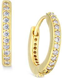Danori - Gold-tone Crystal Pavé Huggy Hoop Earrings - Lyst