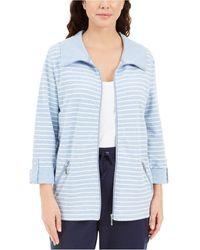 Karen Scott Striped Jacket, Created For Macy's - Blue
