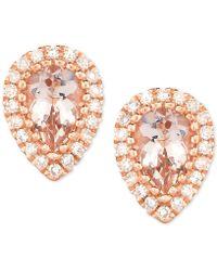 Macy's - Morganite (3/4 Ct. T.w.) & Diamond (1/8 Ct. T.w.) Pear Stud Earrings In 14k Rose Gold - Lyst