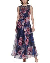 Eliza J Floral-print Chiffon Jumpsuit - Blue