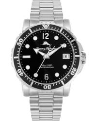 Tommy Bahama Naples Cove Diver Silver-tone Stainless Steel Bracelet Watch, 45mm - Metallic