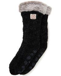 Dearfoams Chenille Knit Blizzard Slipper Sock, Online Only - Black