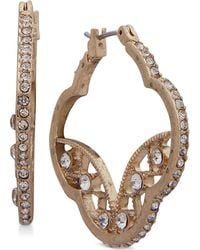 Lonna & Lilly - Gold-tone Crystal Artistic Hoop Earrings - Lyst